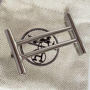 Hermes Silver RIDER 32mm Belt Buckle